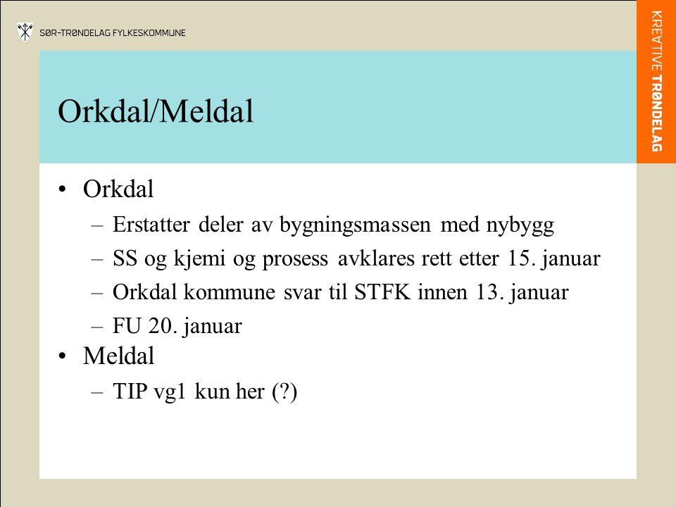 Orkdal/Meldal Orkdal –Erstatter deler av bygningsmassen med nybygg –SS og kjemi og prosess avklares rett etter 15.