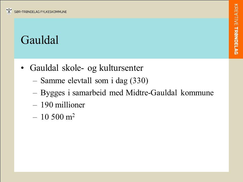 Gauldal Gauldal skole- og kultursenter –Samme elevtall som i dag (330) –Bygges i samarbeid med Midtre-Gauldal kommune –190 millioner –10 500 m 2