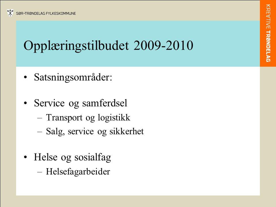 Opplæringstilbudet 2009-2010 Satsningsområder: Service og samferdsel –Transport og logistikk –Salg, service og sikkerhet Helse og sosialfag –Helsefagarbeider