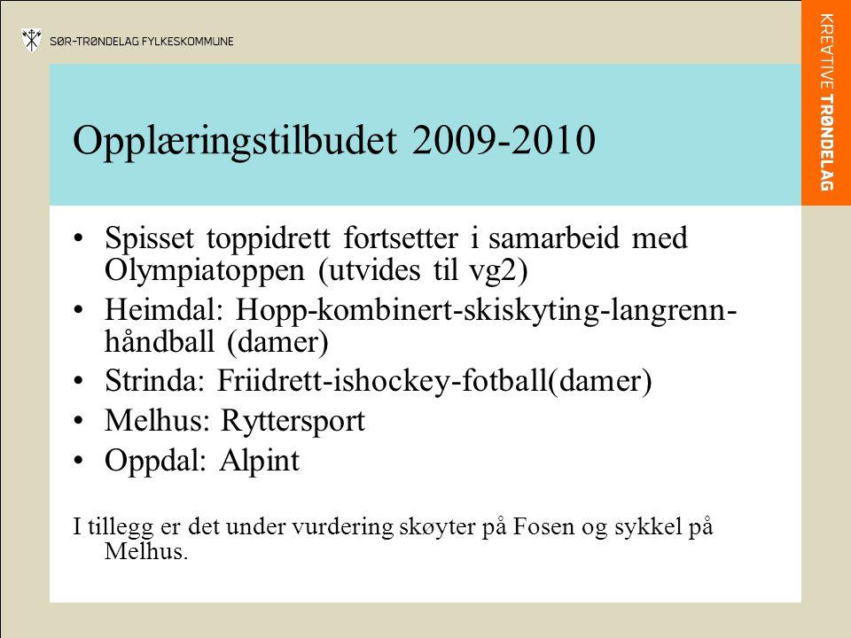 Opplæringstilbudet 2009-2010 Spisset toppidrett fortsetter i samarbeid med Olympiatoppen (utvides til vg2) Heimdal: Hopp-kombinert-skiskyting-langrenn- håndball (damer) Strinda: Friidrett-ishockey-fotball(damer) Melhus: Ryttersport Oppdal: Alpint I tillegg er det under vurdering skøyter på Fosen og sykkel på Melhus.