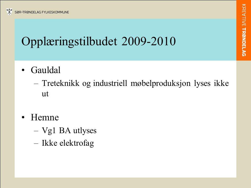 Opplæringstilbudet 2009-2010 Gauldal –Treteknikk og industriell møbelproduksjon lyses ikke ut Hemne –Vg1 BA utlyses –Ikke elektrofag