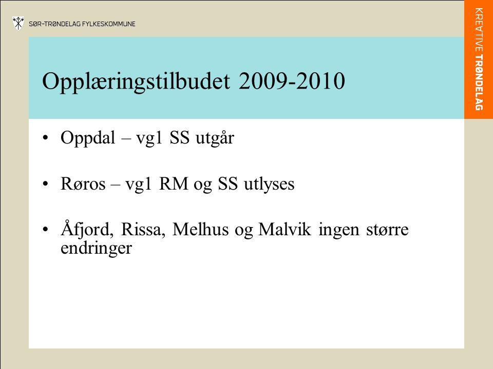 Opplæringstilbudet 2009-2010 Oppdal – vg1 SS utgår Røros – vg1 RM og SS utlyses Åfjord, Rissa, Melhus og Malvik ingen større endringer