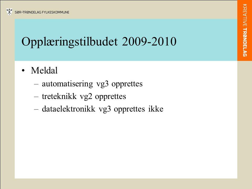 Opplæringstilbudet 2009-2010 Meldal –automatisering vg3 opprettes –treteknikk vg2 opprettes –dataelektronikk vg3 opprettes ikke