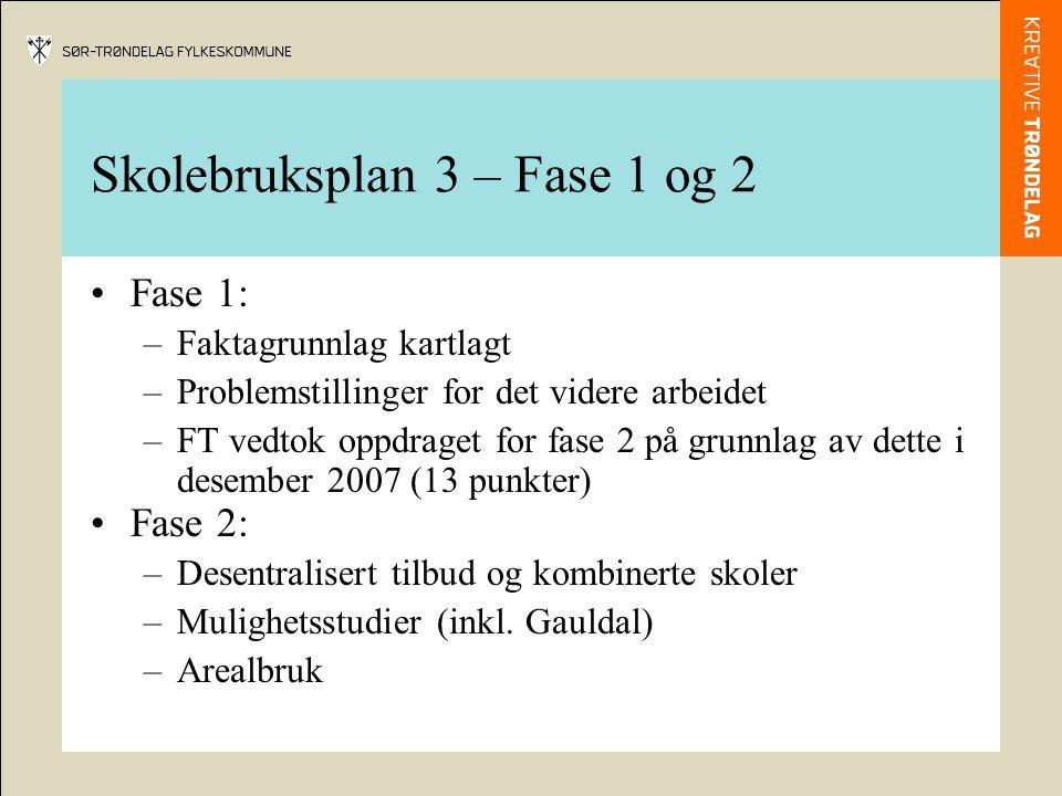Skolebruksplan 3 – Fase 1 og 2 Fase 1: –Faktagrunnlag kartlagt –Problemstillinger for det videre arbeidet –FT vedtok oppdraget for fase 2 på grunnlag av dette i desember 2007 (13 punkter) Fase 2: –Desentralisert tilbud og kombinerte skoler –Mulighetsstudier (inkl.