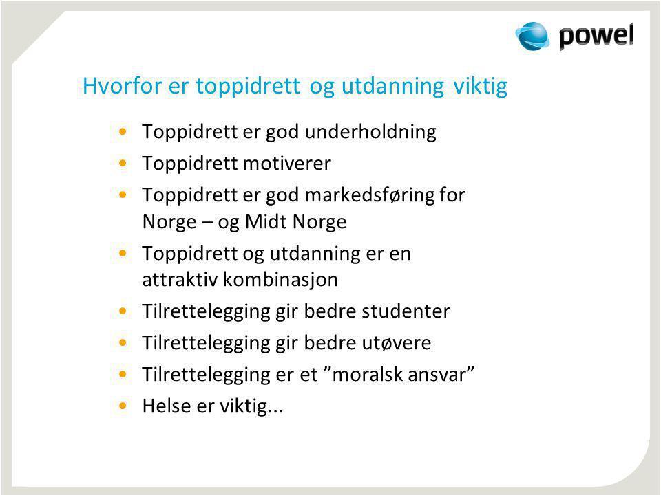 Hvorfor er toppidrett og utdanning viktig Toppidrett er god underholdning Toppidrett motiverer Toppidrett er god markedsføring for Norge – og Midt Nor