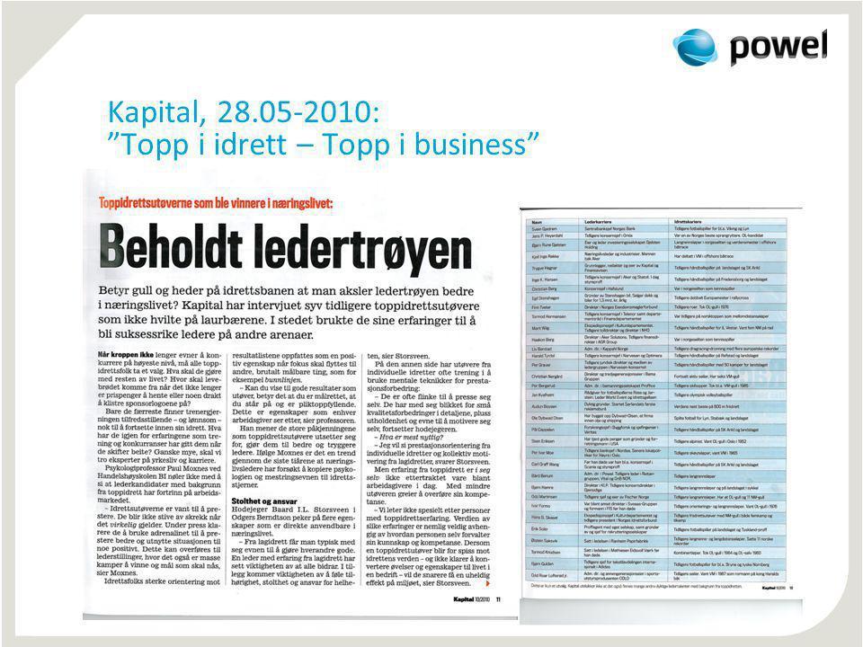 "Kapital, 28.05-2010: ""Topp i idrett – Topp i business"""