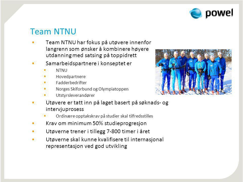 Team NTNU Team NTNU har fokus på utøvere innenfor langrenn som ønsker å kombinere høyere utdanning med satsing på toppidrett Samarbeidspartnere i kons