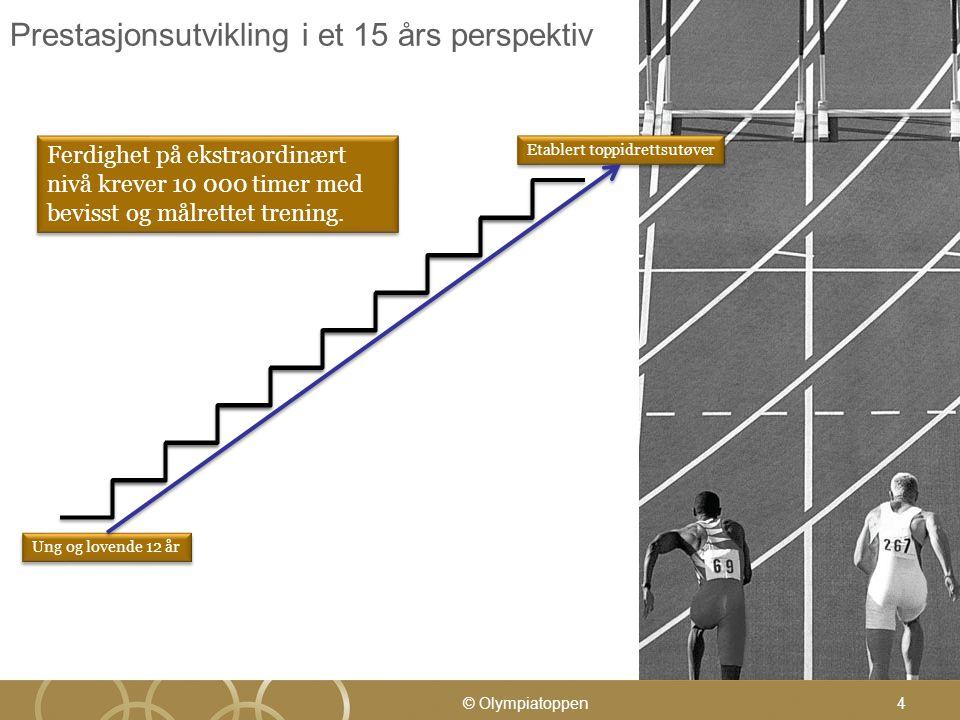 4 Prestasjonsutvikling i et 15 års perspektiv Ung og lovende 12 år Etablert toppidrettsutøver Ferdighet på ekstraordinært nivå krever 10 000 timer med