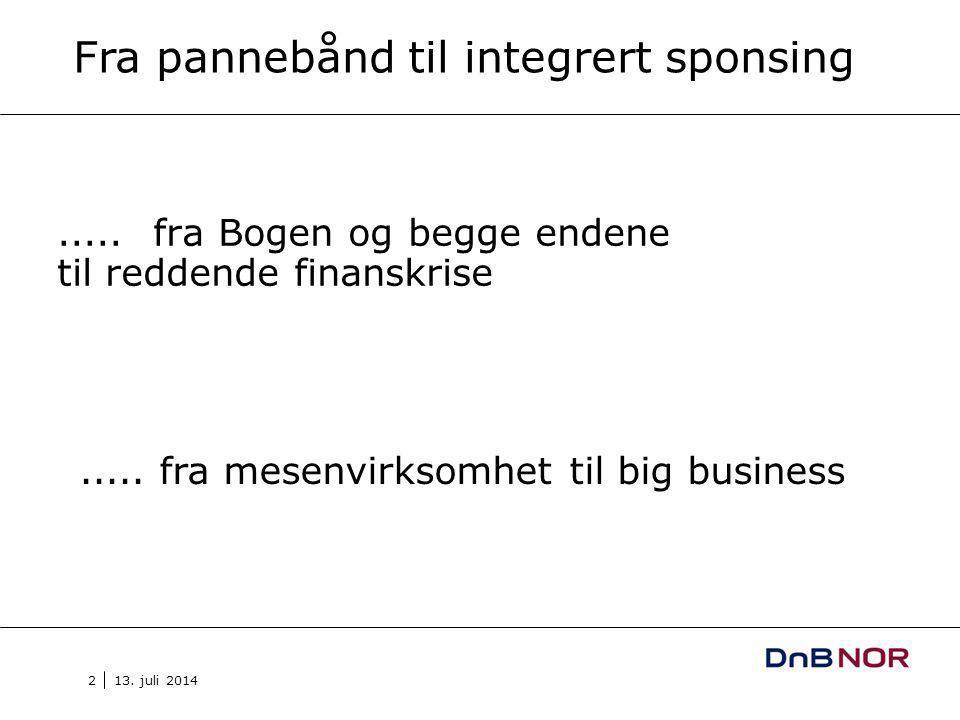 13. juli 2014 2.....fra Bogen og begge endene til reddende finanskrise Fra pannebånd til integrert sponsing.....fra mesenvirksomhet til big business