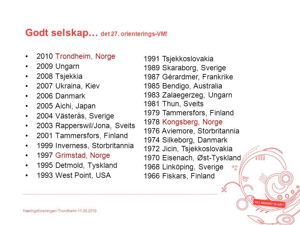 Næringsforeningen i Trondheim 11.08.2010 Godt selskap… det 27. orienterings-VM! 2010 Trondheim, Norge 2009 Ungarn 2008 Tsjekkia 2007 Ukraina, Kiev 200