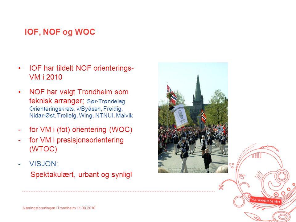 Næringsforeningen i Trondheim 11.08.2010 IOF, NOF og WOC IOF har tildelt NOF orienterings- VM i 2010 NOF har valgt Trondheim som teknisk arrangør; Sør