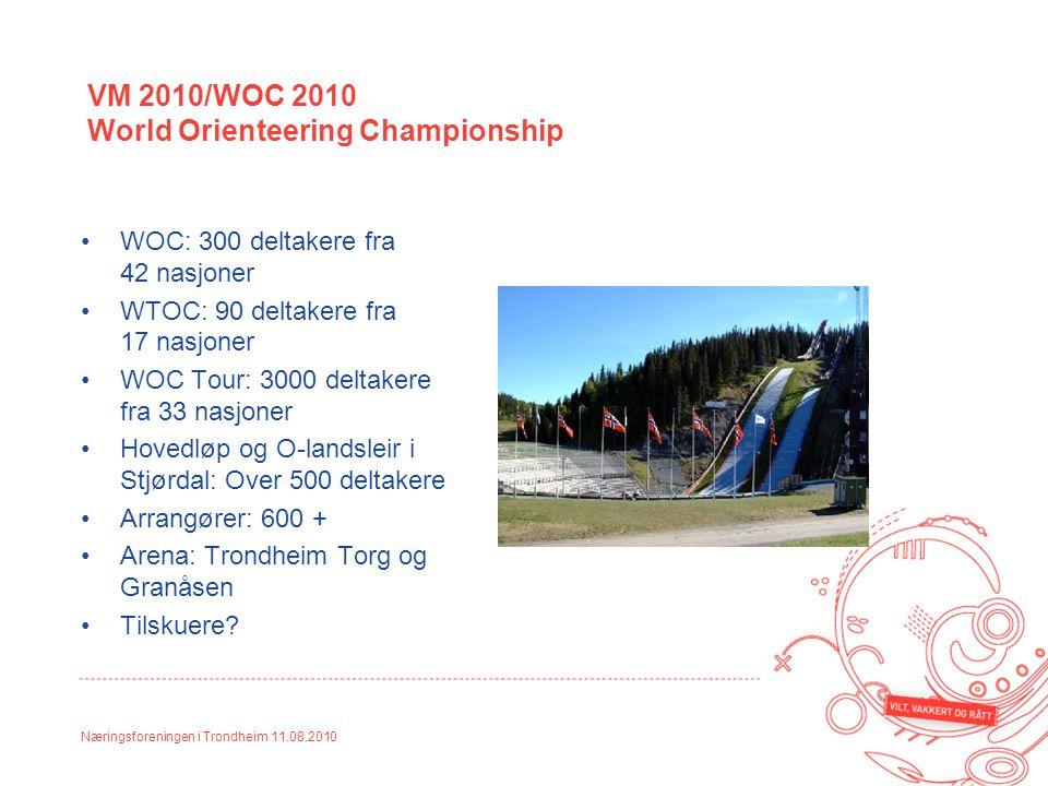 Næringsforeningen i Trondheim 11.08.2010 WOC: 300 deltakere fra 42 nasjoner WTOC: 90 deltakere fra 17 nasjoner WOC Tour: 3000 deltakere fra 33 nasjone
