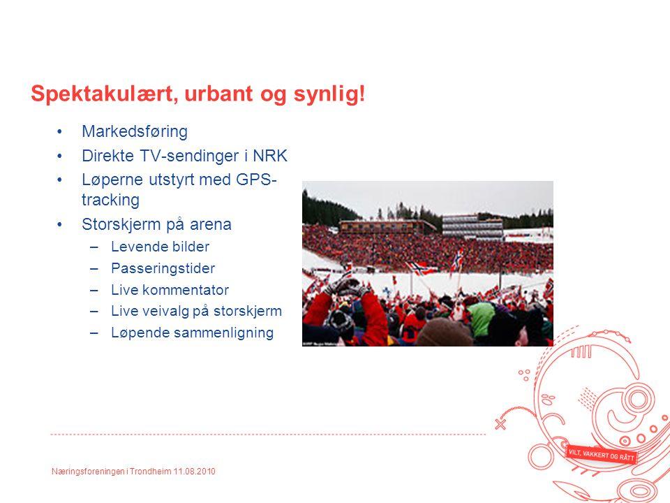 Næringsforeningen i Trondheim 11.08.2010 Spektakulært, urbant og synlig! Markedsføring Direkte TV-sendinger i NRK Løperne utstyrt med GPS- tracking St