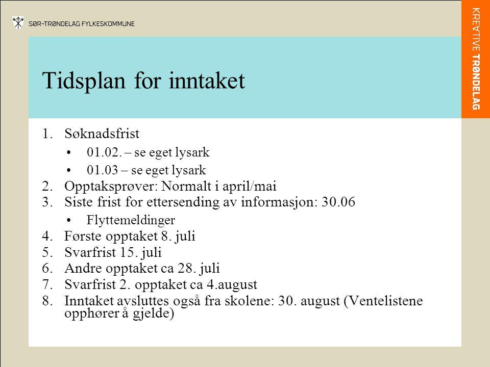 Tidsplan for inntaket 1.Søknadsfrist 01.02. – se eget lysark 01.03 – se eget lysark 2.Opptaksprøver: Normalt i april/mai 3.Siste frist for ettersendin