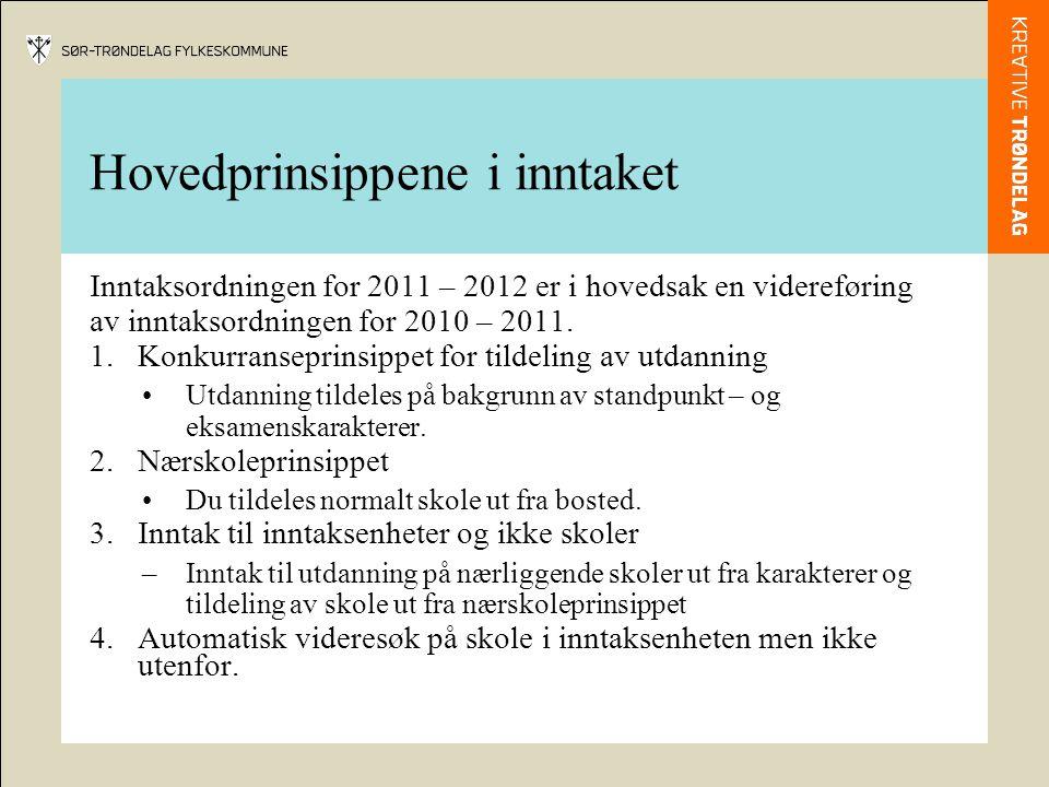 Hovedprinsippene i inntaket Inntaksordningen for 2011 – 2012 er i hovedsak en videreføring av inntaksordningen for 2010 – 2011.