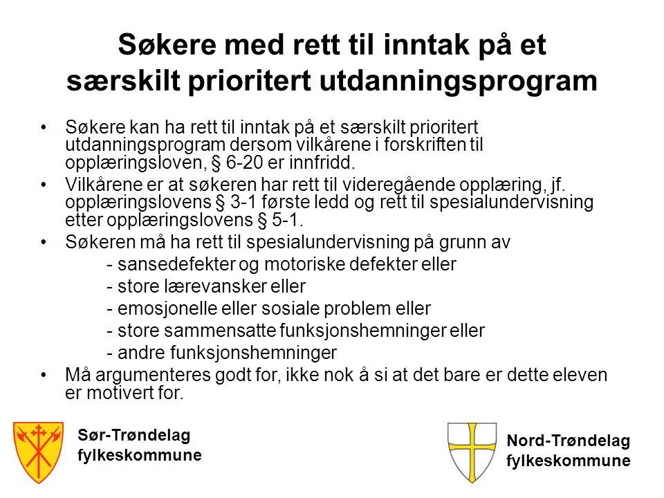 Fordeles til skolene Søknadene blir fordelt til de skolene der søkerne har konkurrert seg inn Skolene fatter vedtak om spesialundervisning Søkerne til særskilt prioritert utdanningsprogram på Vg1 plasseres uavhengig av karakterene når kriteriene for slik søknad er oppfylt Søkere med under halvparten av karakterene plasseres etter individuell vurdering Sør-Trøndelag fylkeskommune Nord-Trøndelag fylkeskommune