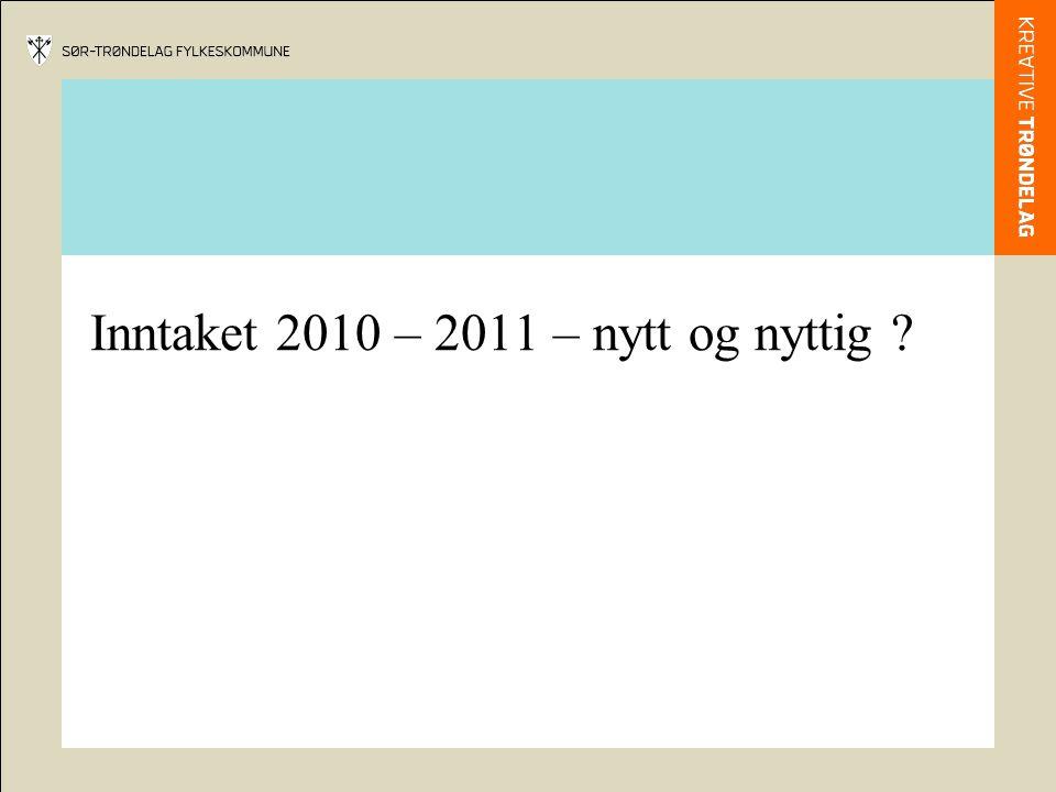 Inntaket 2010 – 2011 – nytt og nyttig ?