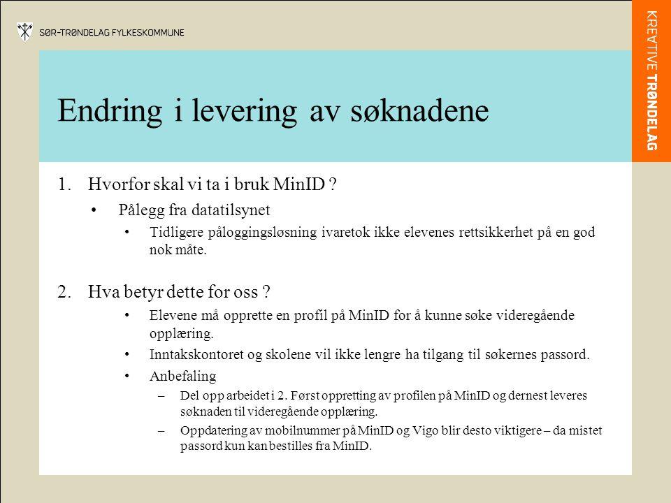 Endring i levering av søknadene 1.Hvorfor skal vi ta i bruk MinID ? Pålegg fra datatilsynet Tidligere påloggingsløsning ivaretok ikke elevenes rettsik