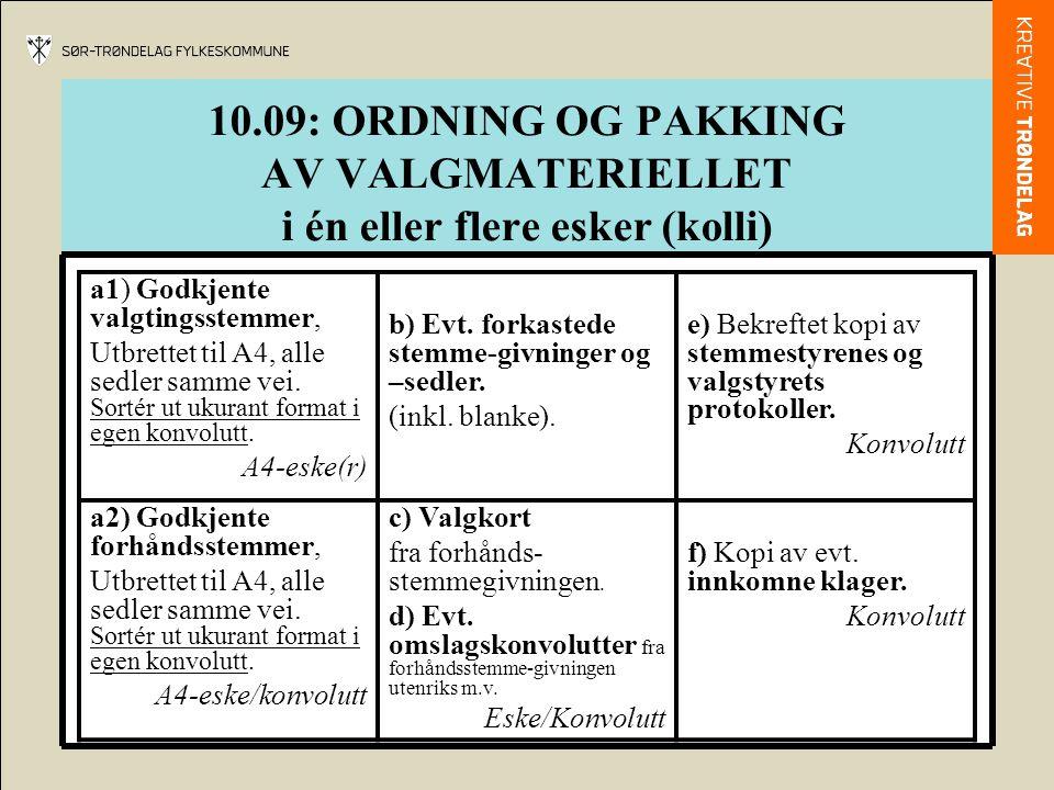 10.09: ORDNING OG PAKKING AV VALGMATERIELLET i én eller flere esker (kolli) a1) Godkjente valgtingsstemmer, Utbrettet til A4, alle sedler samme vei. S