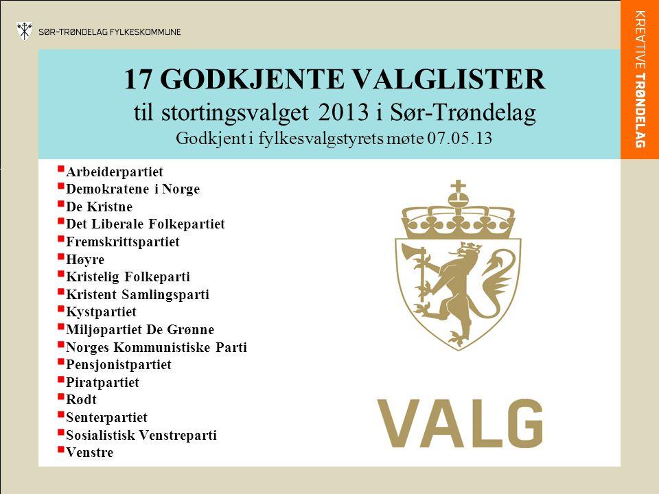 17 GODKJENTE VALGLISTER til stortingsvalget 2013 i Sør-Trøndelag Godkjent i fylkesvalgstyrets møte 07.05.13  Arbeiderpartiet  Demokratene i Norge 