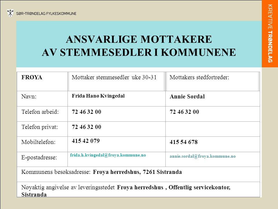 ANSVARLIGE MOTTAKERE AV STEMMESEDLER I KOMMUNENE FRØYAMottaker stemmesedler uke 30-31Mottakers stedfortreder: Navn: Frida Hanø Kvingedal Annie Sørdal