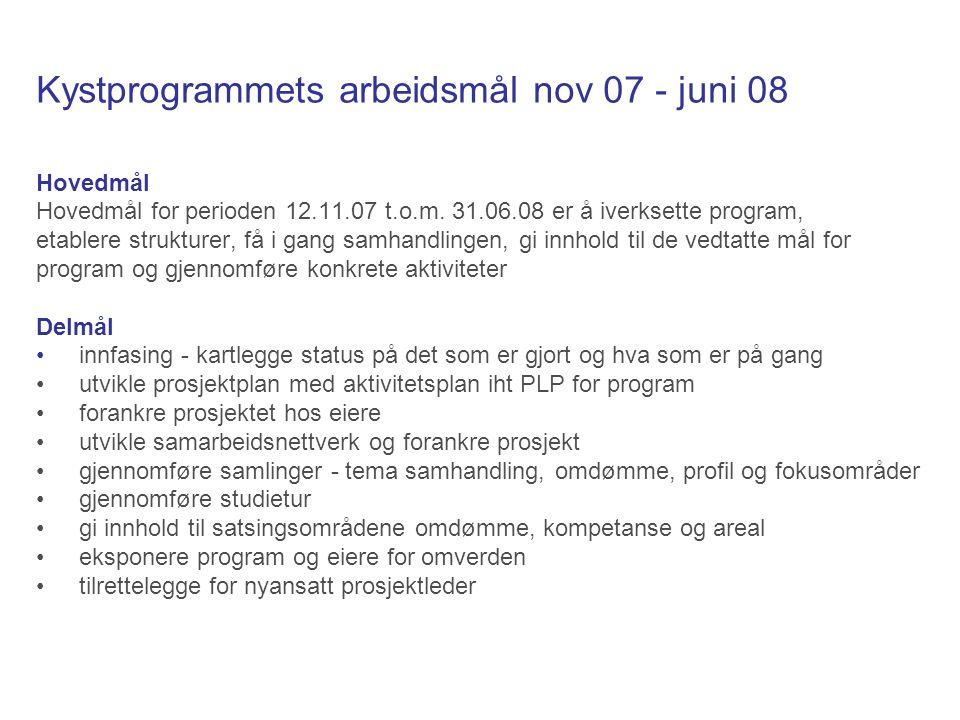 Kystprogrammets arbeidsmål nov 07 - juni 08 Hovedmål Hovedmål for perioden 12.11.07 t.o.m.
