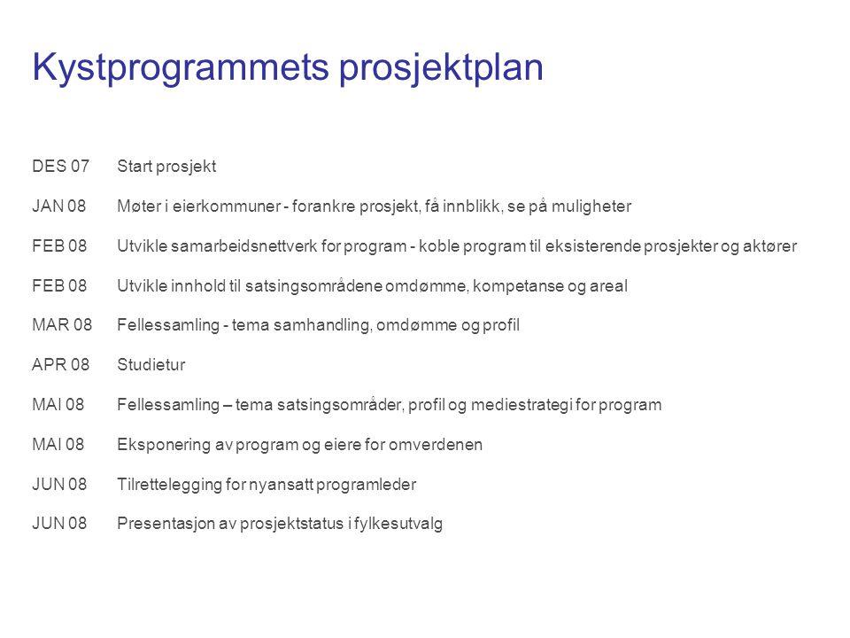 Kystprogrammet - forutsetninger Eierskap Det forutsettes et sterkt eierskap til program hos eiere, representert ved kommunestyrer, administrasjon, styringsgruppe og programstyre.