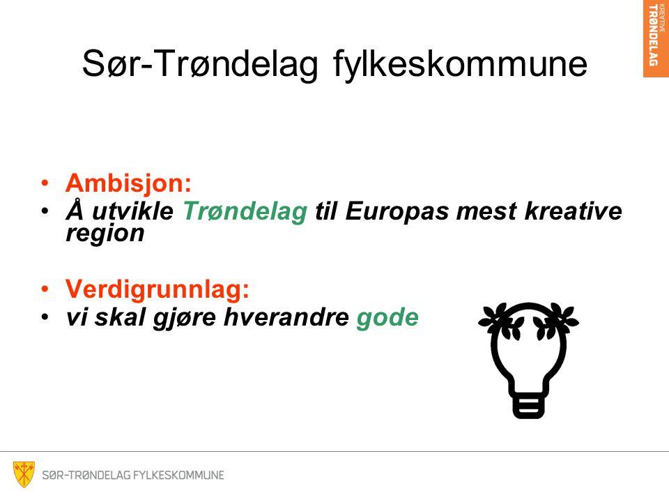 Sør-Trøndelag fylkeskommune Ambisjon: Å utvikle Trøndelag til Europas mest kreative region Verdigrunnlag: vi skal gjøre hverandre gode
