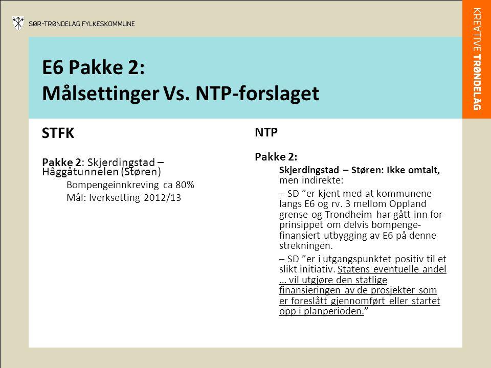 E6 Pakke 2: Målsettinger Vs. NTP-forslaget STFK Pakke 2: Skjerdingstad – Håggåtunnelen (Støren) Bompengeinnkreving ca 80% Mål: Iverksetting 2012/13 NT