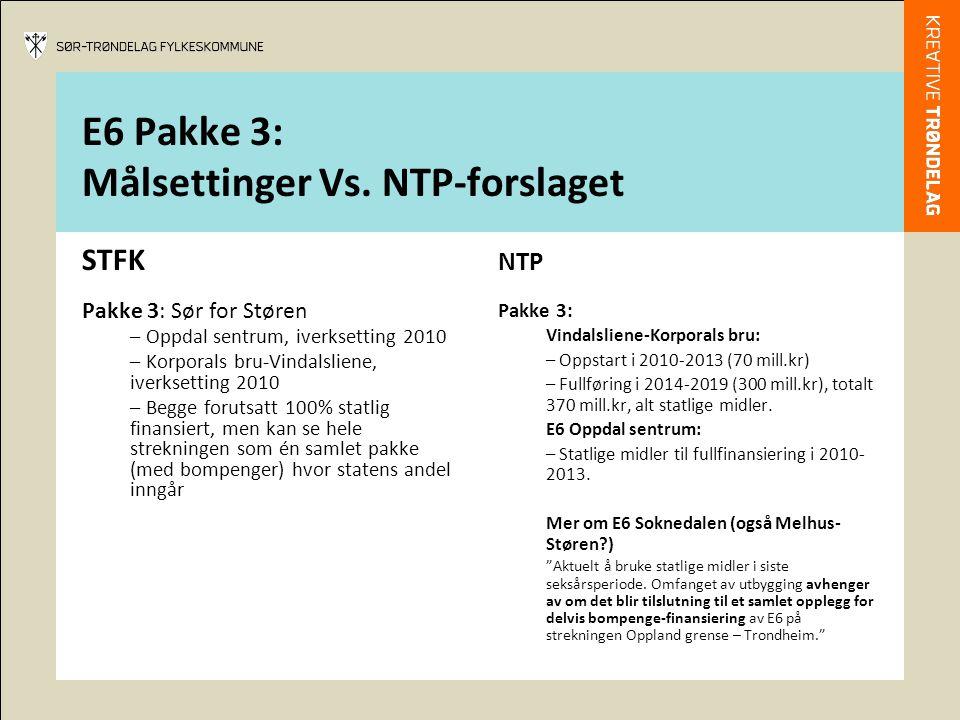 E6 Pakke 3: Målsettinger Vs. NTP-forslaget STFK Pakke 3: Sør for Støren – Oppdal sentrum, iverksetting 2010 – Korporals bru-Vindalsliene, iverksetting