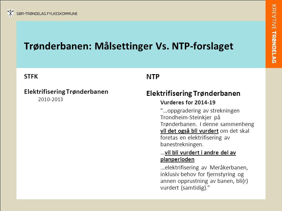 """Trønderbanen: Målsettinger Vs. NTP-forslaget STFK Elektrifisering Trønderbanen 2010-2013 NTP Elektrifisering Trønderbanen Vurderes for 2014-19 """"…oppgr"""