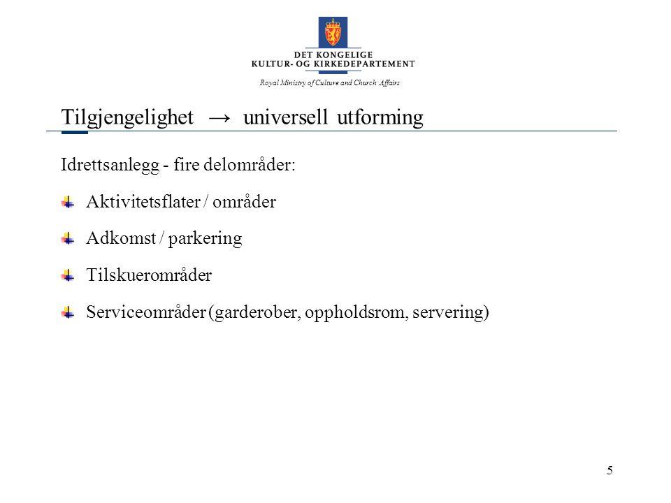 Royal Ministry of Culture and Church Affairs 5 Tilgjengelighet → universell utforming Idrettsanlegg - fire delområder: Aktivitetsflater / områder Adko