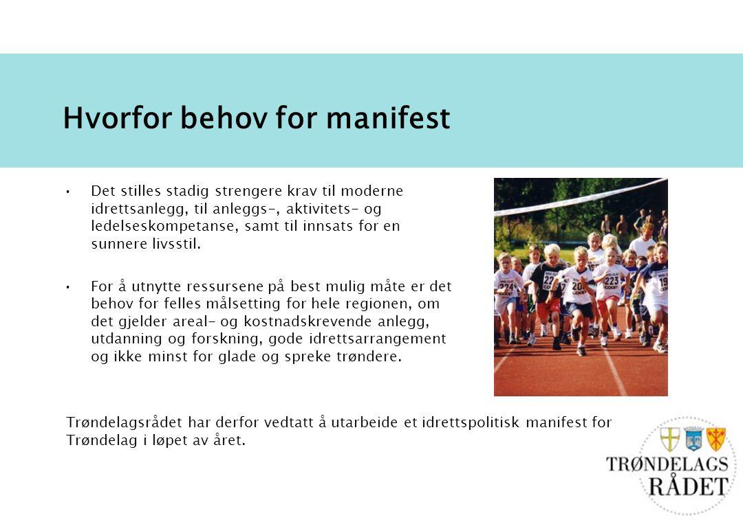 2 Hvorfor behov for manifest Det stilles stadig strengere krav til moderne idrettsanlegg, til anleggs-, aktivitets- og ledelseskompetanse, samt til innsats for en sunnere livsstil.