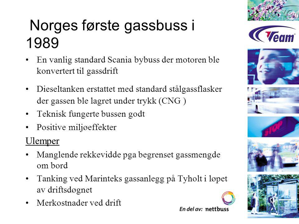 Målsetting neste fase 1992 Demonstrere et komplett naturgassdriftkonsept med hensyn til : –Gassforsyning, LNG –Lagring og håndtering på mottaksstasjonen –Daglig drift av busser Vinne erfaring med naturgassdriftkonseptet for å se om naturgass er et realistisk drivstoff- alternativ med hensyn til : –Teknikk, bl.a CNG- eller LNG-lagring på bussen –Miljøeffekter –Kostnader