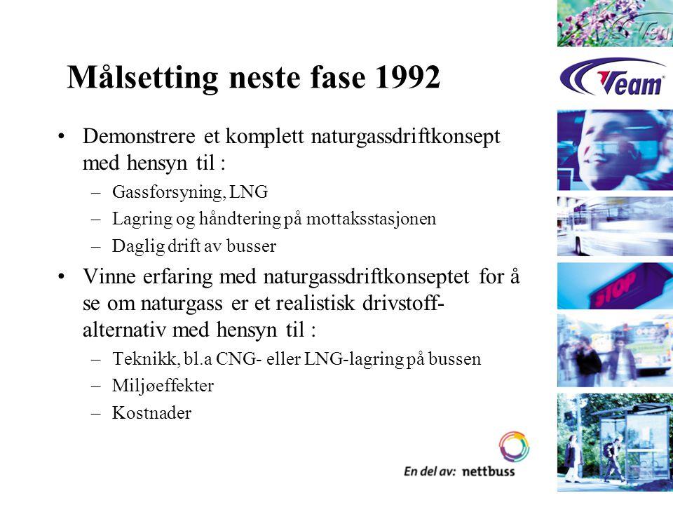 Målsetting neste fase 1992 Demonstrere et komplett naturgassdriftkonsept med hensyn til : –Gassforsyning, LNG –Lagring og håndtering på mottaksstasjon