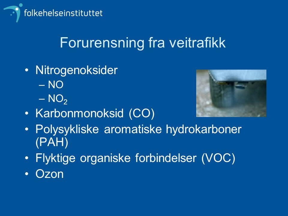 Forurensning fra veitrafikk Nitrogenoksider –NO –NO 2 Karbonmonoksid (CO) Polysykliske aromatiske hydrokarboner (PAH) Flyktige organiske forbindelser (VOC) Ozon
