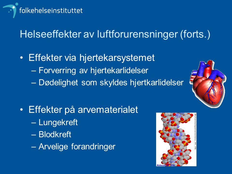 Helseeffekter av luftforurensninger (forts.) Effekter via hjertekarsystemet –Forverring av hjertekarlidelser –Dødelighet som skyldes hjertkarlidelser Effekter på arvematerialet –Lungekreft –Blodkreft –Arvelige forandringer