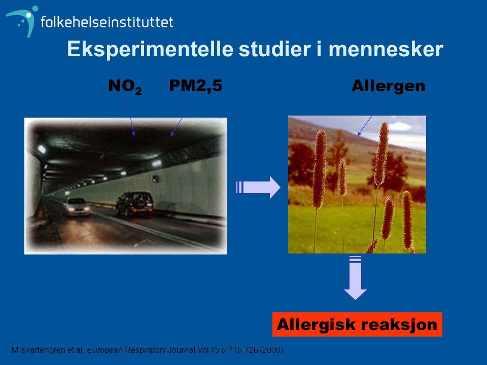 NO 2 PM2,5Allergen Allergisk reaksjon Eksperimentelle studier i mennesker M Svartengren et al. European Respiratory Journal Vol 15 p 716-726 (2000)
