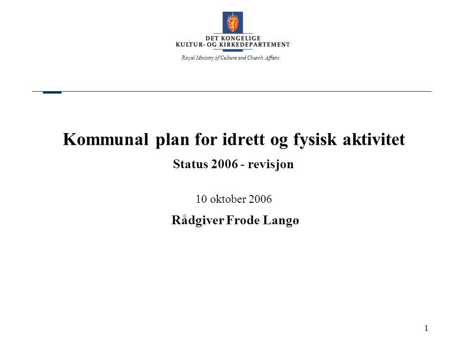 Royal Ministry of Culture and Church Affairs 1 Kommunal plan for idrett og fysisk aktivitet Status 2006 - revisjon 10 oktober 2006 Rådgiver Frode Lang