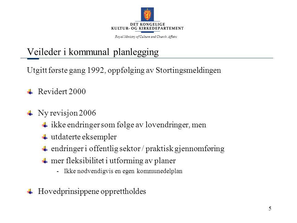Royal Ministry of Culture and Church Affairs 5 Veileder i kommunal planlegging Utgitt første gang 1992, oppfølging av Stortingsmeldingen Revidert 2000