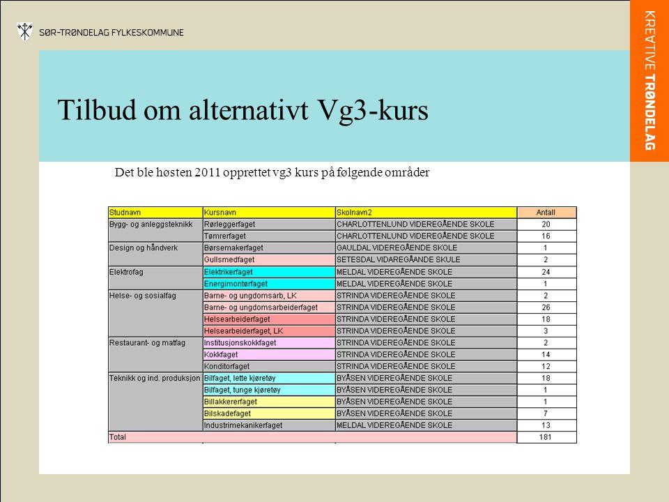 Tilbud om alternativt Vg3-kurs Det ble høsten 2011 opprettet vg3 kurs på følgende områder