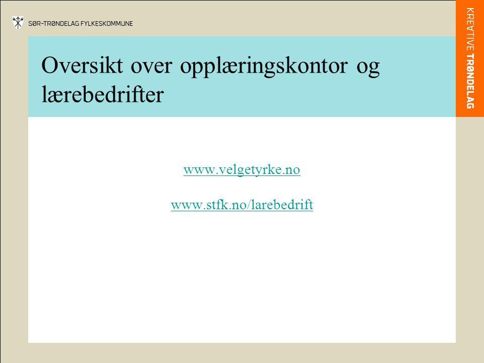 Oversikt over opplæringskontor og lærebedrifter www.velgetyrke.no www.stfk.no/larebedrift