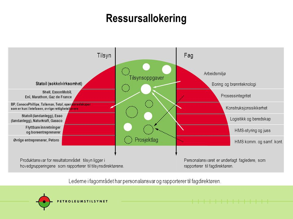Ressursallokering TilsynFag Produktansvar for resultatområdet tilsyn ligger i hovedgrupperingene som rapporterer til tilsynsdirektørene. Personalansva