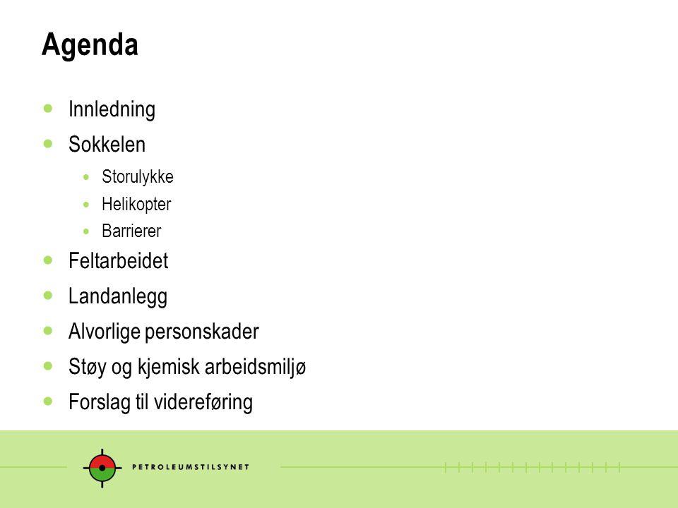 Agenda Innledning Sokkelen Storulykke Helikopter Barrierer Feltarbeidet Landanlegg Alvorlige personskader Støy og kjemisk arbeidsmiljø Forslag til vid