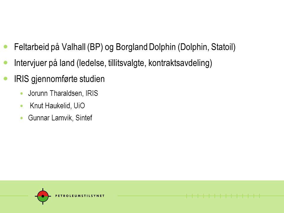 Feltarbeid på Valhall (BP) og Borgland Dolphin (Dolphin, Statoil) Intervjuer på land (ledelse, tillitsvalgte, kontraktsavdeling) IRIS gjennomførte stu