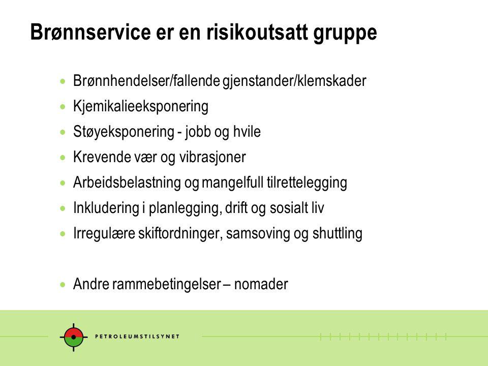 Brønnservice er en risikoutsatt gruppe Brønnhendelser/fallende gjenstander/klemskader Kjemikalieeksponering Støyeksponering - jobb og hvile Krevende v