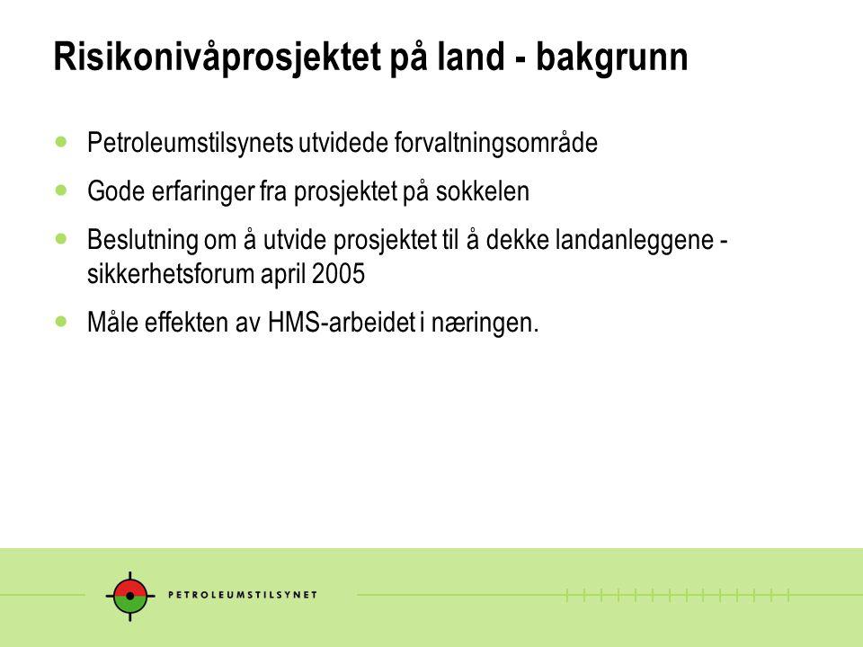 Risikonivåprosjektet på land - bakgrunn Petroleumstilsynets utvidede forvaltningsområde Gode erfaringer fra prosjektet på sokkelen Beslutning om å utv