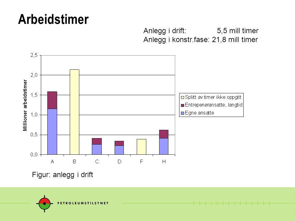 Arbeidstimer Anlegg i drift: 5,5 mill timer Anlegg i konstr.fase: 21,8 mill timer Figur: anlegg i drift