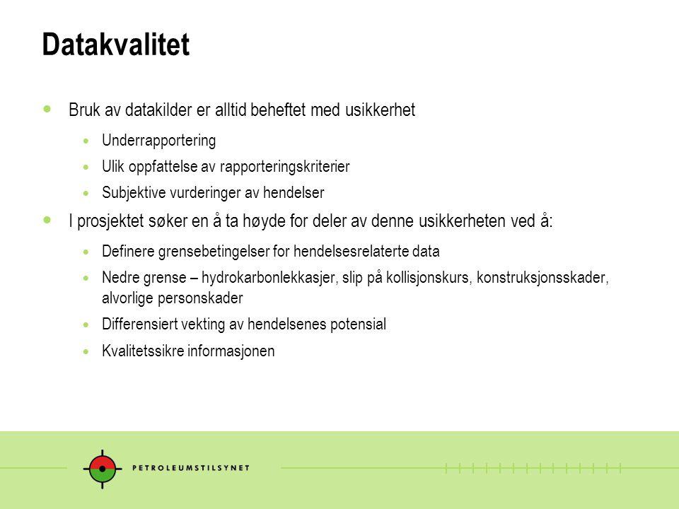 Datagrunnlaget - observasjoner Lite dataomfang 3 av anleggene i drift har ikke rapportert tilløpsdata (DFU data) Alle anlegg har rapportert barrieredata Store variasjoner i rapportering av alvorlige personskader