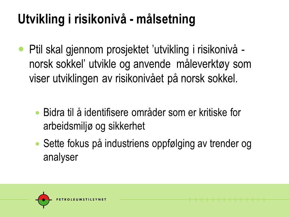 Utvikling i risikonivå - målsetning Ptil skal gjennom prosjektet 'utvikling i risikonivå - norsk sokkel' utvikle og anvende måleverktøy som viser utviklingen av risikonivået på norsk sokkel.
